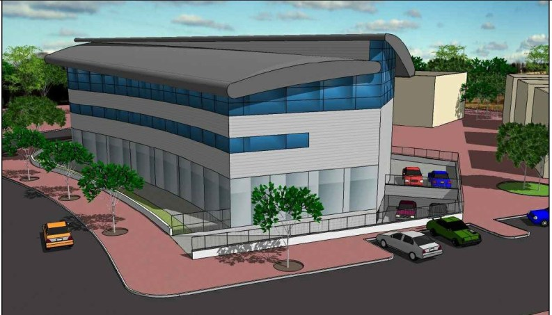 הדמייה של מרכז עמית העתידי לאחר תוספת של שתי קומות משרדים וחניות
