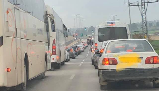פקק תנועה יציאה מחריש צומת חריש צילום: ישראלה אור