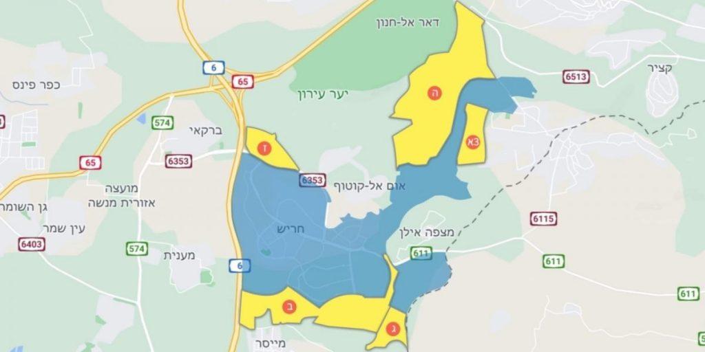 המלצות הוועדה הגאוגרפית חיפה מפת התרחבות העיר