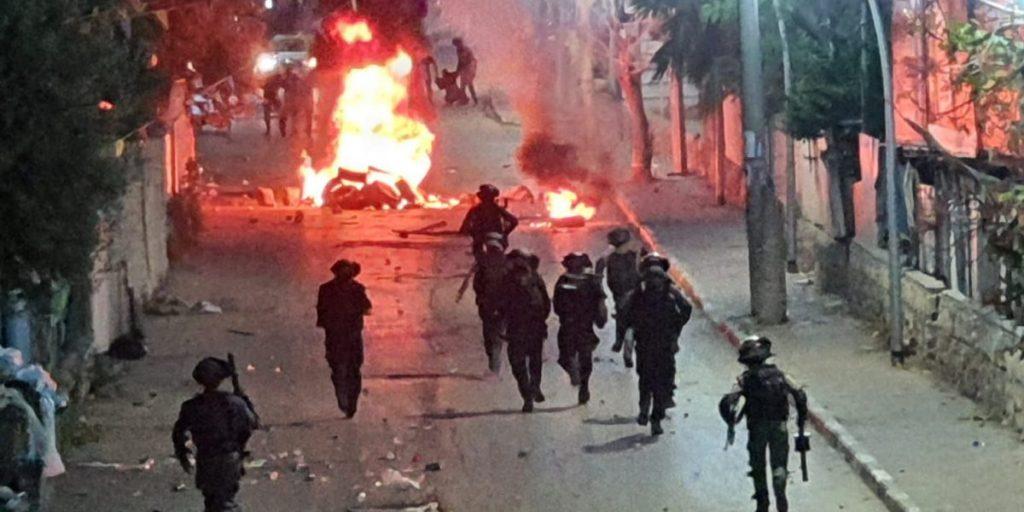 הפרות סדר בג'סר א-זרקא בשבוע שעבר. צילום: דוברות המשטרה