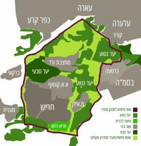 מפה יער עירון קרינה מפה יער עירון קרינה