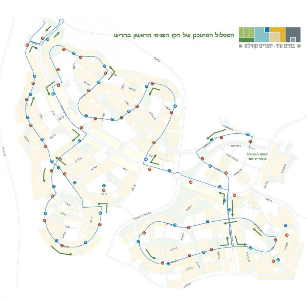 המסלול המתוכנן של הקו הפנימי הראשון של חריש